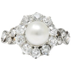 J.E. Caldwell Edwardian 1.50 CTW Natural Pearl Diamond Platinum-Topped 14kt Gold