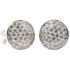 1.48 Carat Diamond 18 Karat White Gold Stud Earrings