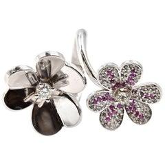 Diamond and Ruby 14 Karat White Gold Flower Ring
