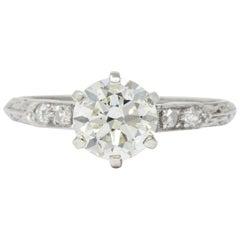 1930s 1.14 Carat Diamond Platinum Engagement Ring GIA