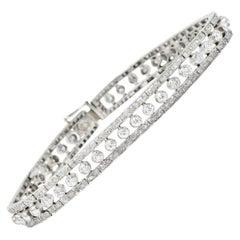 1930s 4.55 Carat Diamond Platinum Art Deco Bracelet