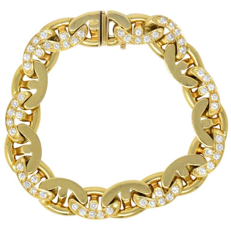 Bulgari Contemporary 2.10 Carat Diamond 18 Karat Gold Link Bracelet For Sale