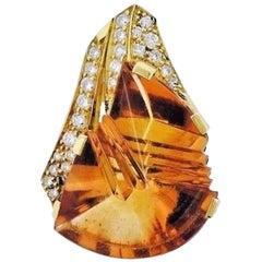 H. Stern 18 Karat Gold VS 0.60 Carat Diamond Citrine Pendant