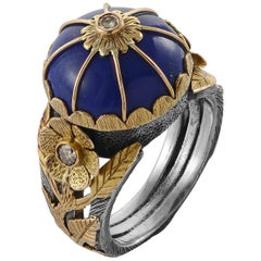 Emma Chapman Lapis Lazuli Diamond 18 Karat Yellow Gold Silver Cocktail Ring