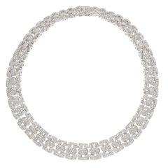 White Gold Ladies Diamond Necklace, 21.60 TDW, 156 Grams