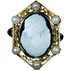 Victorian Filigree Cameo Ring with Pearls