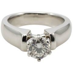 Platinum Ladies 0.85 Carat Round Brilliant J/SI2 Diamond Solitaire Ring