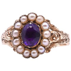 Antique Early Victorian Gold, Amethyst and Seed Pearl Ring, circa 1850