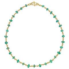 22 Karat Gold and Apaptite Necklace Yellow Gold