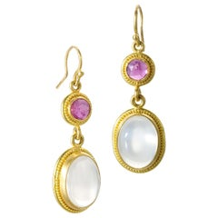 Ruby Moonstone Yellow Gold 22 Karat Gold 20 Karat Gold Dangle Earrings