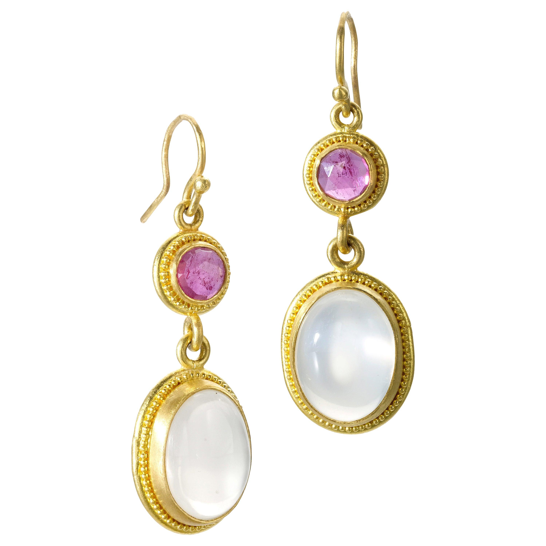 Ruby & Moonstone Yellow Gold 22 Karat Gold Dangle Earrings