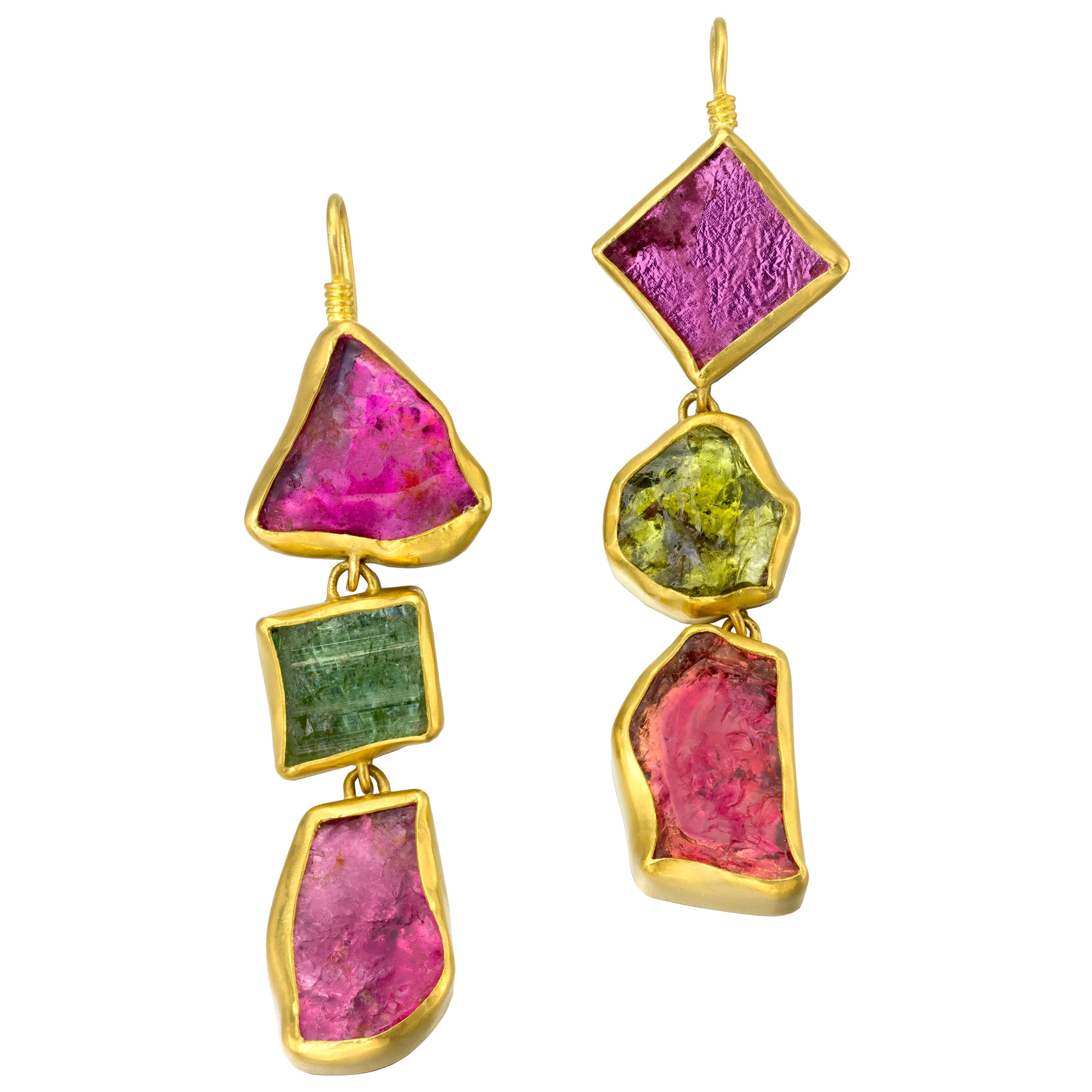 Tourmaline 22 Karat Gold Dangle Earrings