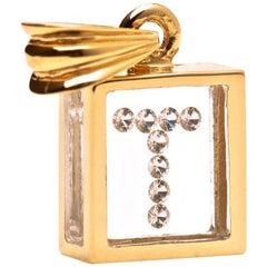 Incogem Floating Diamond Pendant 14 Karat Yellow Gold 'Letter T'