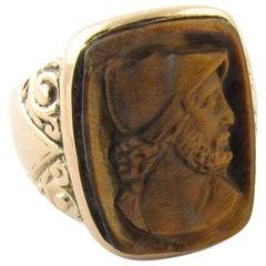 Antique Edwardian 14 Karat Yellow Gold Tiger's Eye Cameo Ring