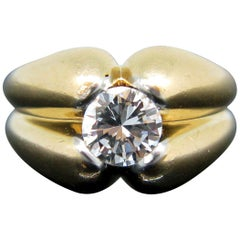 Retro Diamond 18 Karat Yellow Gold and Platinum Ring