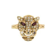18 Karat Yellow Gold Diamonds Cougar Ring