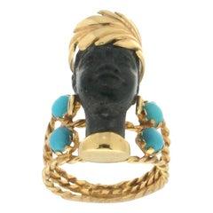 Black Moor 14 Karat Yellow Gold Turquoise Cocktail Ring