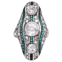 Diamonds Emeralds 1920 Platinum Ring