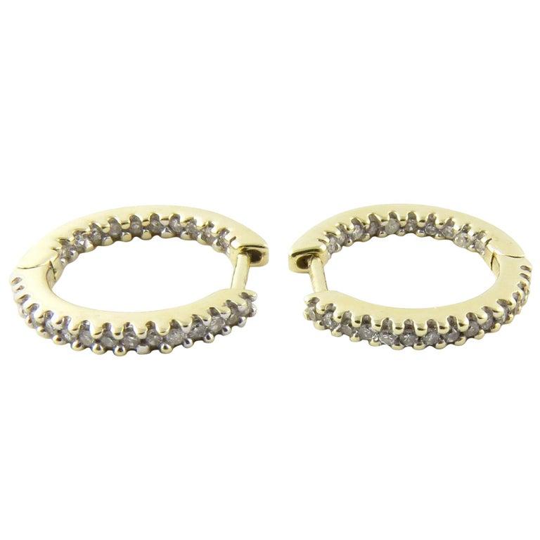 10 Karat Yellow Gold Diamond Hoop Earrings For Sale At 1stdibs