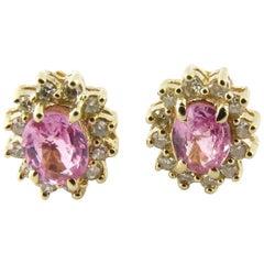 14 Karat Yellow Gold Pink Gemstone and Diamond Earrings