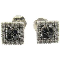 14 Karat White Gold Black Moissanite and White Diamond Earrings