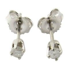 14 Karat White Gold Diamond Stud Earrings .12 Carat