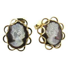 14 Karat Yellow Gold Cameo Stud Earrings