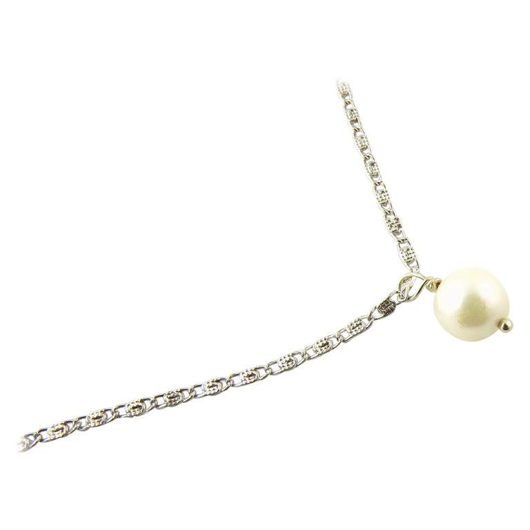 14 Karat White Gold Pearl Drop Necklace