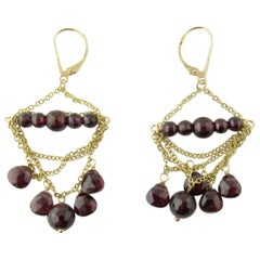 14 Karat Yellow Gold Garnet Earrings
