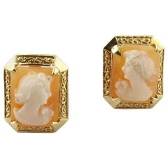 Cameo 14 Karat Stud Earrings with Screw Backs