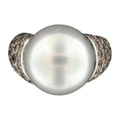 Australian Pearl 18 Karat White Gold Diamonds Cocktail Ring