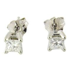 14 Karat White Gold Princess Cut Diamond Stud Earrings .33 Carat