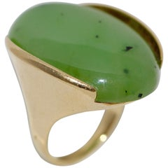 "Heavy Jade Ring, 14 Karat Gold by ""Grosse Germany"""