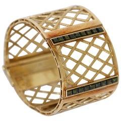 Wide Gold Bracelet, Bangle, 14 Karat Gold, Set with 18 Tourmalines Vintage