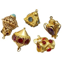 Collection of five, big 18K gold gemstone pendants. Suitable for charm bracelet.