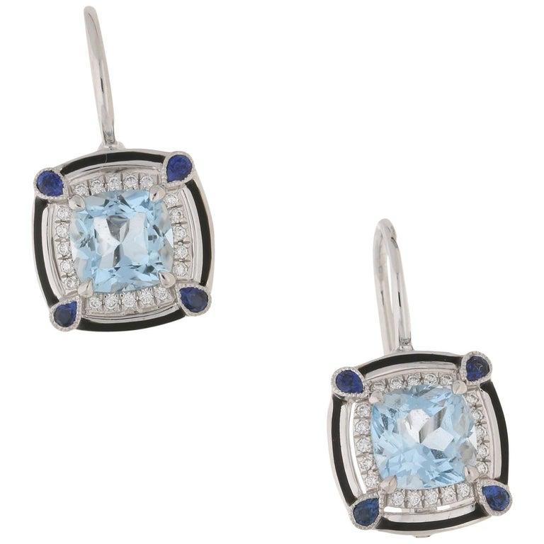 18 Karat Gold Aquamarine Sapphire Diamond Earrings