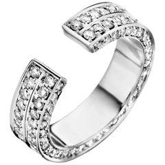 18 Karat White Gold and White Diamond Brute Ring