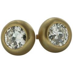3.66 Carat Natural Diamond Solitaire Studs Earrings in 18 Karat Yellow Gold