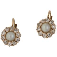 18 Karat Gold Pearl Diamond Cluster Drop Earrings