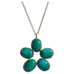 Large Yellow Gold Flower Pendant Necklace with Cabochon Cut Amazonite Stones