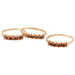Set of 3 Stacking Rings Vintage Goldstone 10 Karat Gold Estate Fine Jewelry