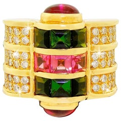 Custom 14k Gold Diamond Pink and Green Tourmaline 5.5 Carat Wide Ring 24G
