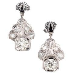 .85 Carat Diamond Onyx Art Deco Platinum Dangle Earrings