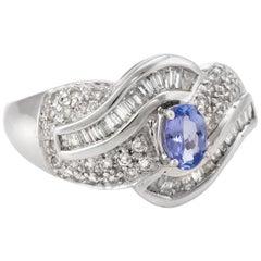 Tanzanite Diamond Cocktail Ring Estate 14 Karat White Gold Vintage Fine Jewelry
