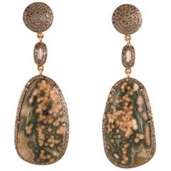 Green Jasper Quartz Chalcedony Diamond Dangle Earrings