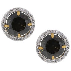 Fancy Brown Round Cut Diamond Stud Earrings