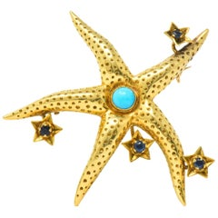 Tiffany & Co. Retro 0.20 Carat Sapphire Turquoise 18 Karat Gold Starfish Brooch