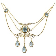 Victorian 10.00 Carat Aquamarine Seed Pearl 14 Karat Gold Swag Necklace