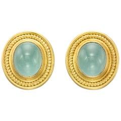 Aquamarine Yellow Gold 22 Karat Gold 18 Karat Gold Earrings