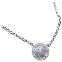 18 Karat White Gold Fan Style Pendant 0.21 Carat Baguette and Round Diamond